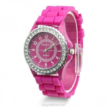 Geneva Women's Watch With Crystal Case - Hot Pink