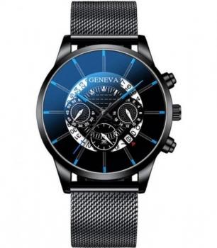 Gents Black Geneva Watch