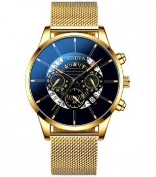Gents Gold Geneva Watch