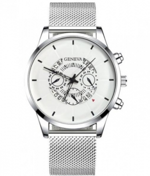 Gents Silver Geneva Watch