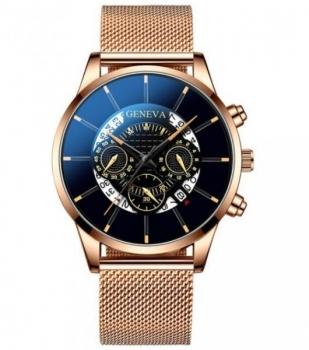 Gents Rose Gold Geneva Watch