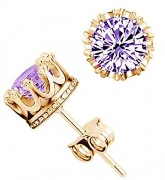 Gold And Purple Crown Stud Earrings