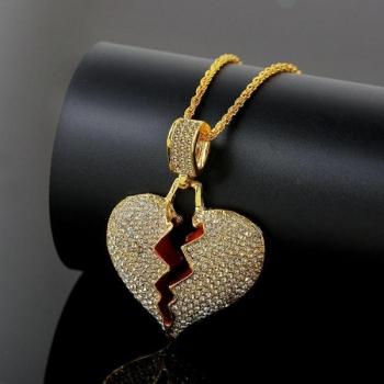 Gold Broken Heart Pendant