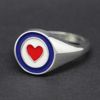 Handmade Sterling Silver & Enamel Ring Size