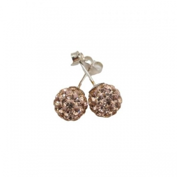 Pink Crystal Shambala Style Stud Earrings