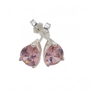 Pink Crystal Teardrop Stud Earrings