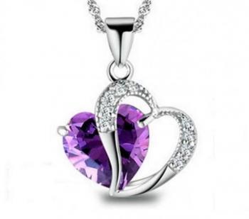 Purple Dangling Heart Pendant