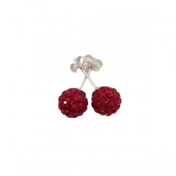 Red Crystal Shambala Style Earrings