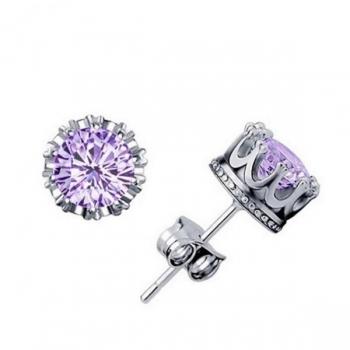 Silver and Purple Crown Stud Earrings